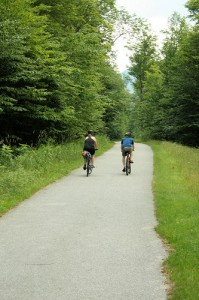 Start of the Franconia Notch Bike Path